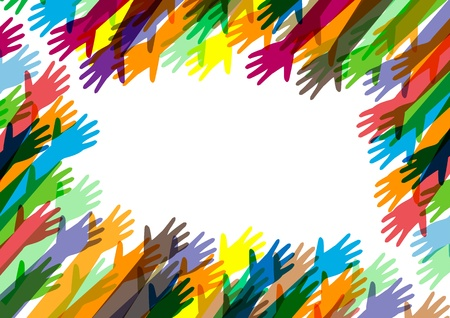 strong partnership: hands of different colors  cultural and ethnic diversity  Illustration