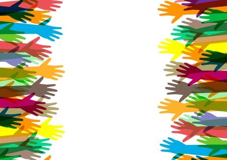 handen van verschillende kleuren culturele en etnische diversiteit Stock Illustratie