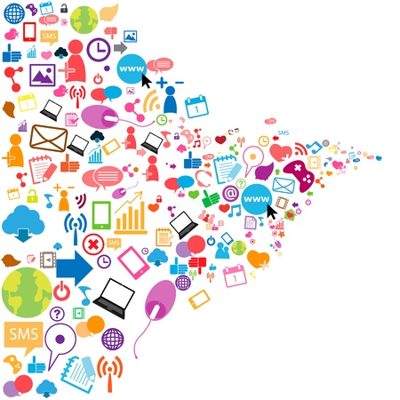 interaccion social: Fondo social de la red con los iconos de los medios de comunicaci�n Vectores