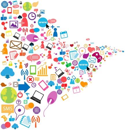 communicatie: Sociaal netwerk achtergrond met media iconen Stock Illustratie