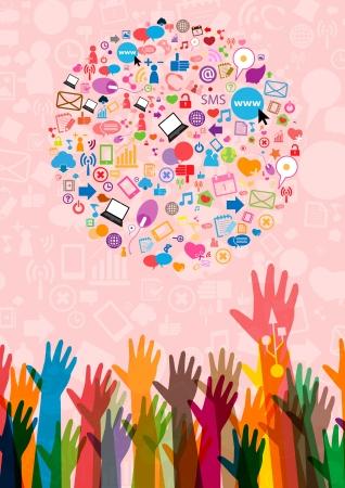 communications technology: Fondo social de la red con los iconos de los medios de comunicaci�n Vectores
