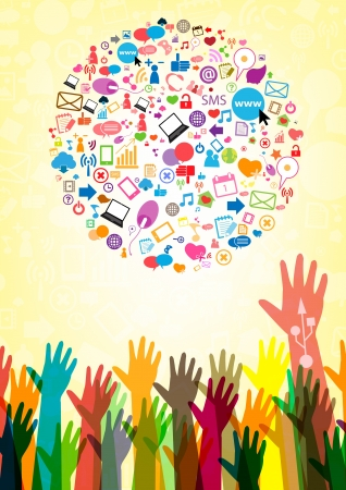 Social network background with media icons Vector