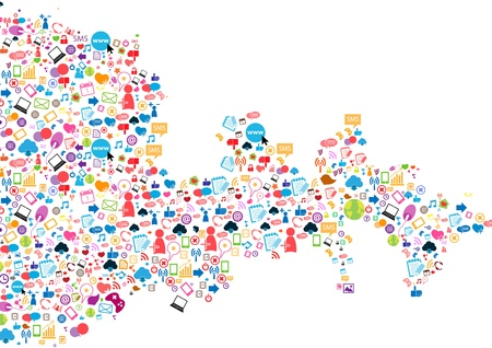 Social network background with media icons  Vector illustration