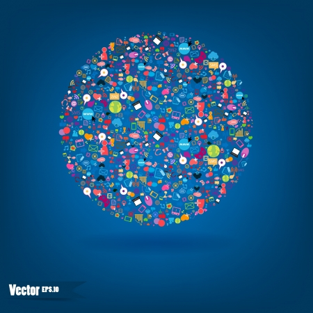 Social network background with media icons. Vector illustration