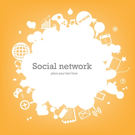 home network: Social network background with media icons. Vector illustration