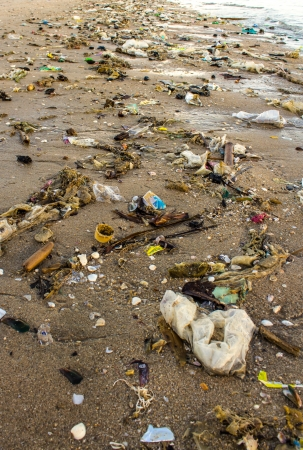 Very polluted beach photo