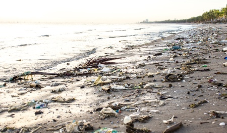 environmental issues: Very polluted beach