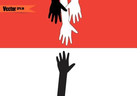 diversidad cultural: manos de diferentes colores. la diversidad cultural y étnica, ilustración Vectores