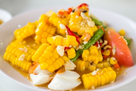 Thai food, corn salad with salted spicy sour dressing Stock Photo - 20466081