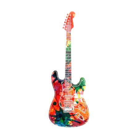 Abstract guitarist color