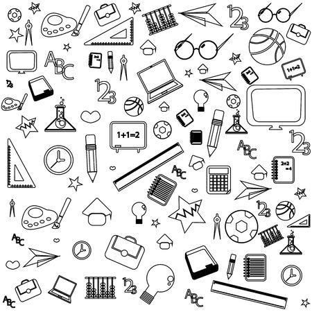 naadloze patroon met kleurrijke scholen pictogrammen op achtergrond met media iconen Stock Illustratie