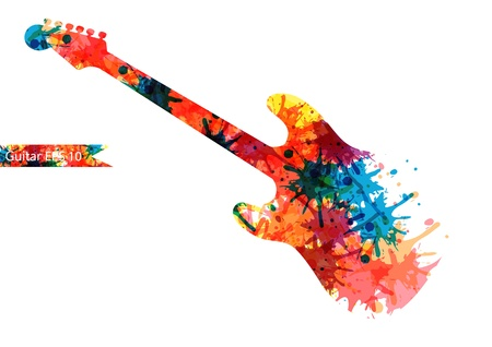 Abstract guitarist color. Eps 10 Vector