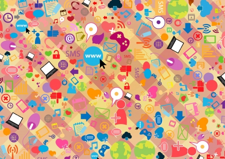 Social network background with media icons Stock Vector - 20946500