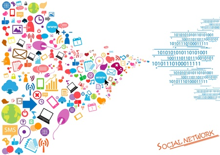 Social network background with media icons Stock Vector - 20946502