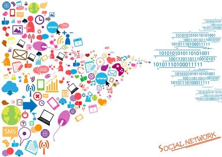 struktur: Socialt nätverk bakgrund med media ikoner
