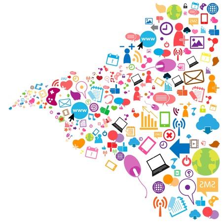 kommunikation: Sociala nätverk bakgrund med medier ikoner
