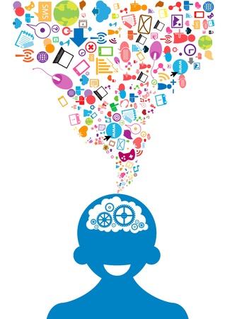 アイデアの社会的ネットワークの背景を生成する男性の頭を開く