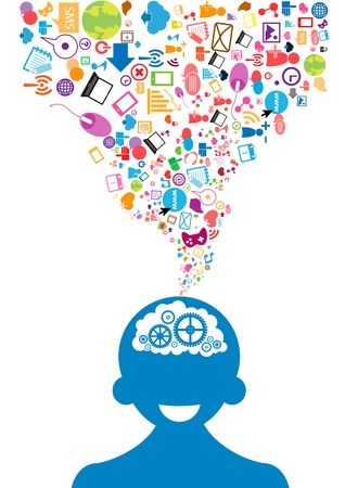 otwarte głowy męskie pomysły generujące tle sieć społeczna Ilustracje wektorowe