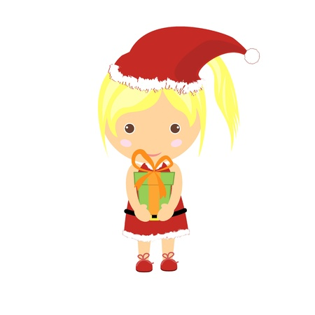 Women who wear the costume of Santa Claus and gifts. Vector