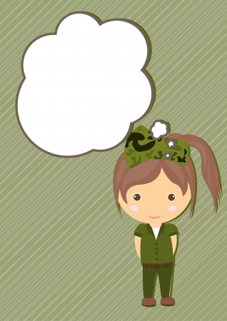 Soldier Dream girl cartoon vector Illustration