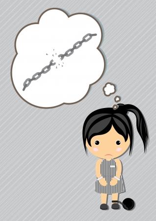 female prisoner: Prisoner Dream girl cartoon vector Illustration