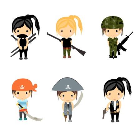 military girl: Woman Character set - Vector