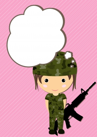 Dream Soldier girl cartoon vector Vector