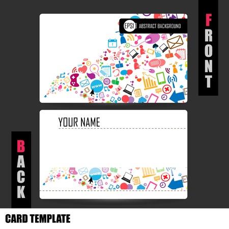 tarjeta de presentacion: Modern Red social conjunto de tarjeta Vectores