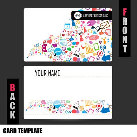 Modern Social network Business-Card Set Illustration