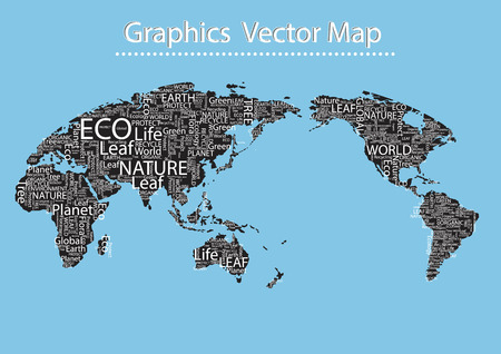 World map Eco Font vector set seamless pattern Vector
