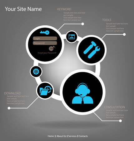 Website Design template for the info graphics with icons on the theme of internet Vector