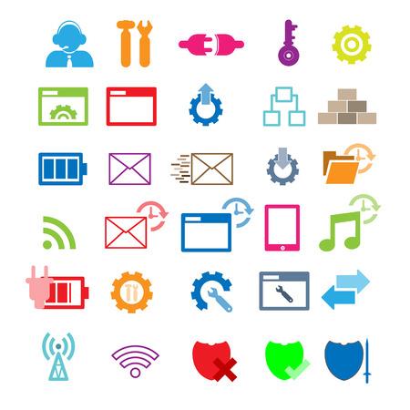 Set van netwerk iconen - vector iconen Vector Illustratie