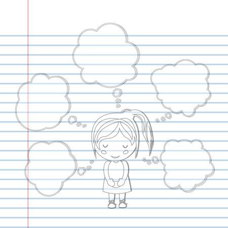 dreamland: Pattern book Dream girl school cartoon vector