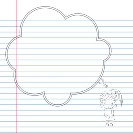 cartoon school girl: Pattern book Dream girl school cartoon vector