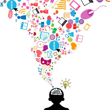Sociaal netwerk gloeilamp idee vectorillustratie