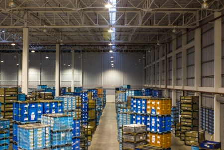 packaging industry: Interior of new large and modern warehouse space