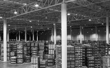 Interior of new large and modern warehouse space monochrome