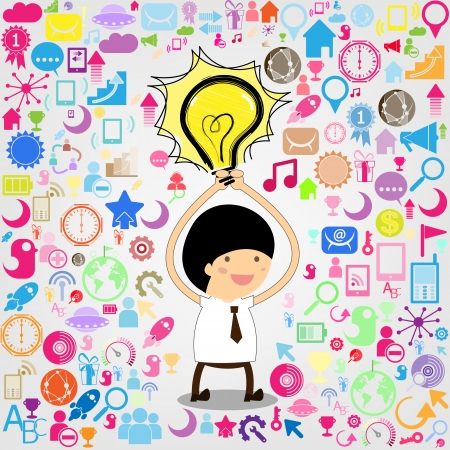 light bulb hovering over business mans social network
