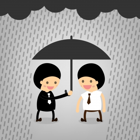 Boss assist although it rained. Stock Vector - 22545454