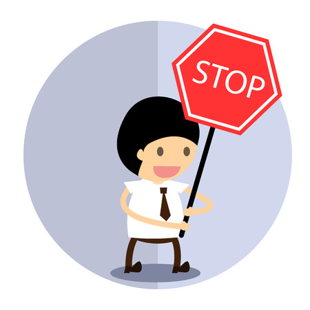 Business man stop Label Vector