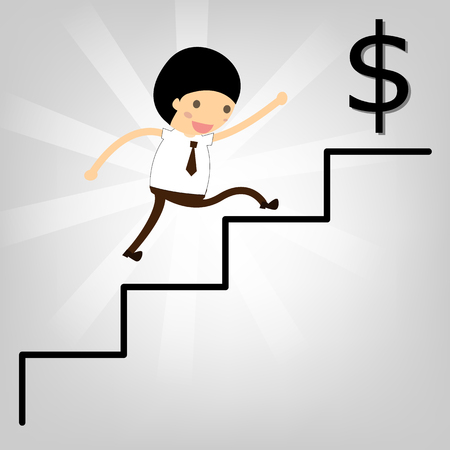 business concept. Man stepping up a staircase to success Dollars. Stock Vector - 22545480