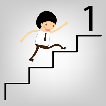 business concept. Man stepping up a staircase to success Stock Vector - 22545561