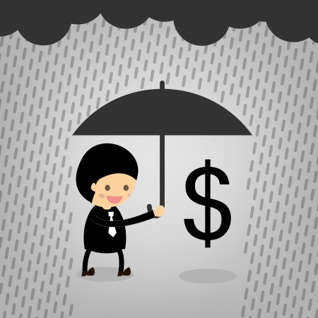 Boss assist Dollars although it rained. Stock Vector - 22545560
