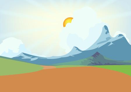 vector illustration of green landscape of sunny morning Stock Illustration - 22969545