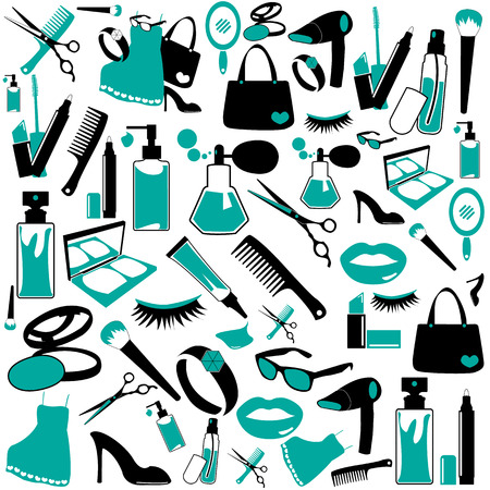 hairspray: Cosmetic, make up and beauty icons and background.