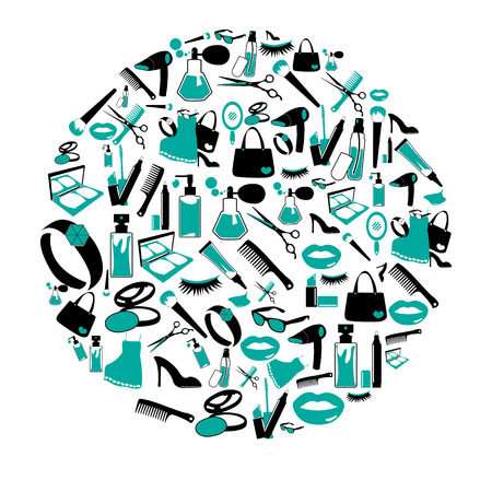 nail file: Circle Cosmetic, make up and beauty icons and background.