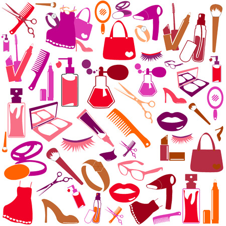 Cosmetic, make up and beauty icons and background. Stock Vector - 23267231