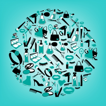 Cosmetic, make up and beauty icons and background  Illustration