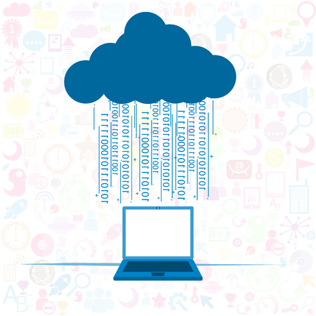 private server: Social network background Cloud computing concept