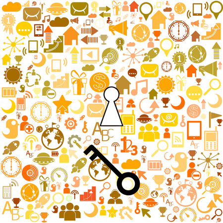 a keys with icons of business as a background, business success concept Vector